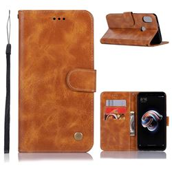 Luxury Retro Leather Wallet Case for Xiaomi Redmi Note 5 Pro - Golden