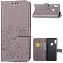 Embossing Imprint Four-Leaf Clover Leather Wallet Case for Xiaomi Redmi Note 5 Pro - Grey