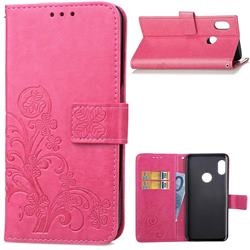 Embossing Imprint Four-Leaf Clover Leather Wallet Case for Xiaomi Redmi Note 5 Pro - Rose