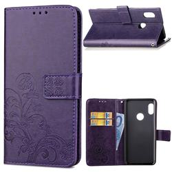 Embossing Imprint Four-Leaf Clover Leather Wallet Case for Xiaomi Redmi Note 5 Pro - Purple