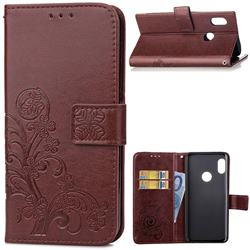Embossing Imprint Four-Leaf Clover Leather Wallet Case for Xiaomi Redmi Note 5 Pro - Brown