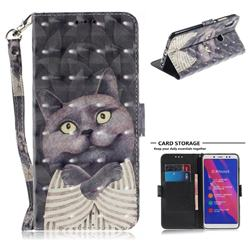 Cat Embrace 3D Painted Leather Wallet Phone Case for Xiaomi Redmi Note 5 Pro