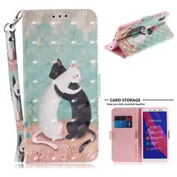 Black and White Cat 3D Painted Leather Wallet Phone Case for Xiaomi Redmi Note 5 Pro