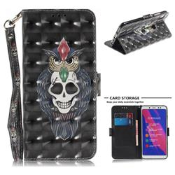 Skull Cat 3D Painted Leather Wallet Phone Case for Xiaomi Redmi Note 5 Pro