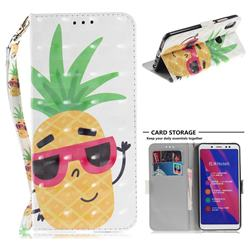 Pineapple Glasses 3D Painted Leather Wallet Phone Case for Xiaomi Redmi Note 5 Pro