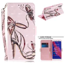 Butterfly High Heels 3D Painted Leather Wallet Phone Case for Xiaomi Redmi Note 5 Pro