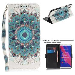 Peacock Mandala 3D Painted Leather Wallet Phone Case for Xiaomi Redmi Note 5 Pro