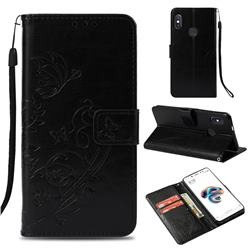 Embossing Butterfly Flower Leather Wallet Case for Xiaomi Redmi Note 5 Pro - Black