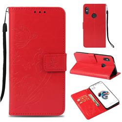 Embossing Butterfly Flower Leather Wallet Case for Xiaomi Redmi Note 5 Pro - Red