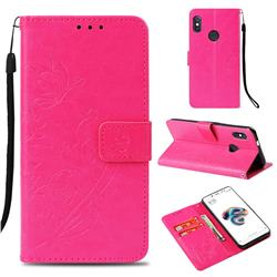Embossing Butterfly Flower Leather Wallet Case for Xiaomi Redmi Note 5 Pro - Rose