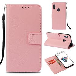 Embossing Butterfly Flower Leather Wallet Case for Xiaomi Redmi Note 5 Pro - Pink