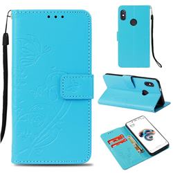 Embossing Butterfly Flower Leather Wallet Case for Xiaomi Redmi Note 5 Pro - Blue
