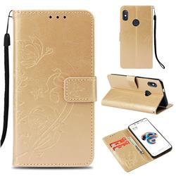 Embossing Butterfly Flower Leather Wallet Case for Xiaomi Redmi Note 5 Pro - Champagne