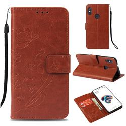 Embossing Butterfly Flower Leather Wallet Case for Xiaomi Redmi Note 5 Pro - Brown