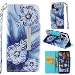 Button Flower Big Metal Buckle PU Leather Wallet Phone Case for Xiaomi Redmi Note 5 Pro
