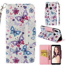 Colored Butterfly Big Metal Buckle PU Leather Wallet Phone Case for Xiaomi Redmi Note 5 Pro