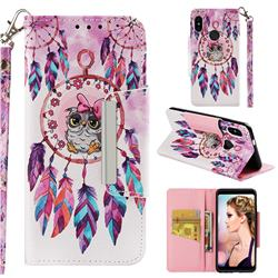 Owl Wind Chimes Big Metal Buckle PU Leather Wallet Phone Case for Xiaomi Redmi Note 5 Pro