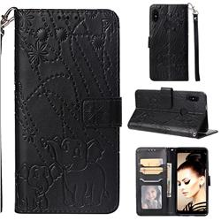 Embossing Fireworks Elephant Leather Wallet Case for Xiaomi Redmi Note 5 Pro - Black
