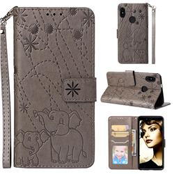 Embossing Fireworks Elephant Leather Wallet Case for Xiaomi Redmi Note 5 Pro - Gray