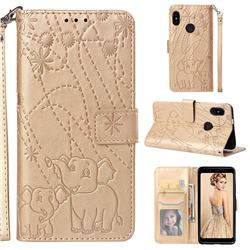 Embossing Fireworks Elephant Leather Wallet Case for Xiaomi Redmi Note 5 Pro - Golden