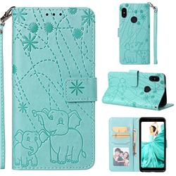 Embossing Fireworks Elephant Leather Wallet Case for Xiaomi Redmi Note 5 Pro - Green
