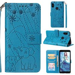 Embossing Fireworks Elephant Leather Wallet Case for Xiaomi Redmi Note 5 Pro - Blue