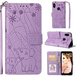 Embossing Fireworks Elephant Leather Wallet Case for Xiaomi Redmi Note 5 Pro - Purple