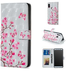 Butterfly Sakura Flower 3D Painted Leather Phone Wallet Case for Xiaomi Redmi Note 5 Pro