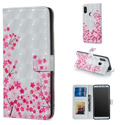 Cherry Blossom 3D Painted Leather Phone Wallet Case for Xiaomi Redmi Note 5 Pro