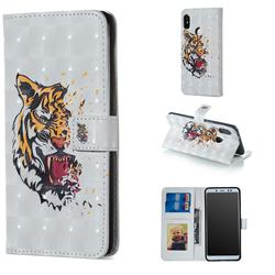 Toothed Tiger 3D Painted Leather Phone Wallet Case for Xiaomi Redmi Note 5 Pro