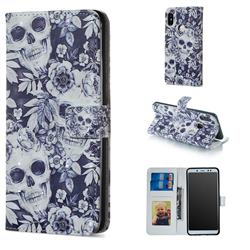 Skull Flower 3D Painted Leather Phone Wallet Case for Xiaomi Redmi Note 5 Pro