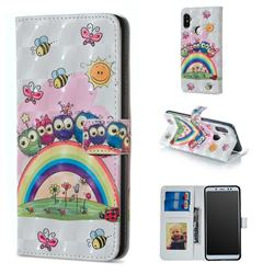 Rainbow Owl Family 3D Painted Leather Phone Wallet Case for Xiaomi Redmi Note 5 Pro