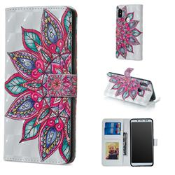 Mandara Flower 3D Painted Leather Phone Wallet Case for Xiaomi Redmi Note 5 Pro