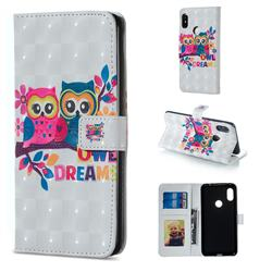 Couple Owl 3D Painted Leather Phone Wallet Case for Xiaomi Redmi Note 5 Pro