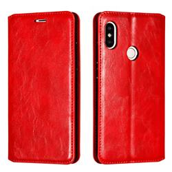 Retro Slim Magnetic Crazy Horse PU Leather Wallet Case for Xiaomi Redmi Note 5 Pro - Red