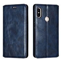 Retro Slim Magnetic Crazy Horse PU Leather Wallet Case for Xiaomi Redmi Note 5 Pro - Blue