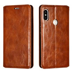 Retro Slim Magnetic Crazy Horse PU Leather Wallet Case for Xiaomi Redmi Note 5 Pro - Brown