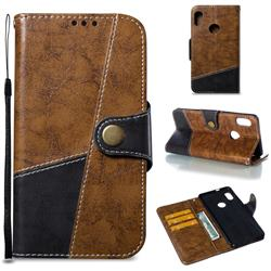 Retro Magnetic Stitching Wallet Flip Cover for Xiaomi Redmi Note 5 Pro - Brown