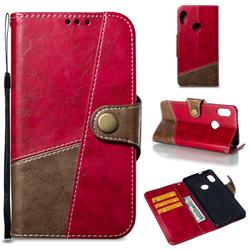 Retro Magnetic Stitching Wallet Flip Cover for Xiaomi Redmi Note 5 Pro - Rose Red