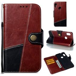Retro Magnetic Stitching Wallet Flip Cover for Xiaomi Redmi Note 5 Pro - Dark Red