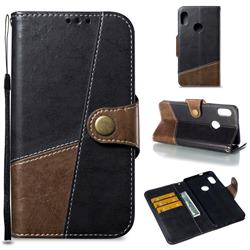 Retro Magnetic Stitching Wallet Flip Cover for Xiaomi Redmi Note 5 Pro - Dark Gray