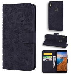 Retro Embossing Mandala Flower Leather Wallet Case for Xiaomi Redmi Note 5 Pro - Black