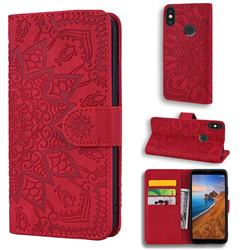 Retro Embossing Mandala Flower Leather Wallet Case for Xiaomi Redmi Note 5 Pro - Red