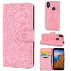 Retro Embossing Mandala Flower Leather Wallet Case for Xiaomi Redmi Note 5 Pro - Pink