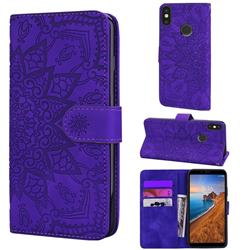 Retro Embossing Mandala Flower Leather Wallet Case for Xiaomi Redmi Note 5 Pro - Purple