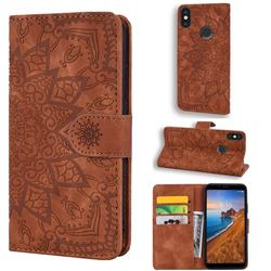 Retro Embossing Mandala Flower Leather Wallet Case for Xiaomi Redmi Note 5 Pro - Brown