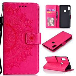 Intricate Embossing Datura Leather Wallet Case for Xiaomi Redmi Note 5 Pro - Rose Red