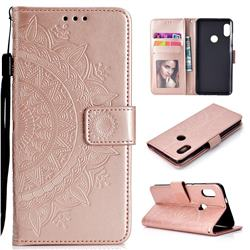 Intricate Embossing Datura Leather Wallet Case for Xiaomi Redmi Note 5 Pro - Rose Gold
