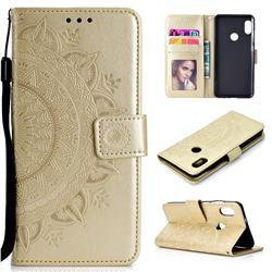 Intricate Embossing Datura Leather Wallet Case for Xiaomi Redmi Note 5 Pro - Golden