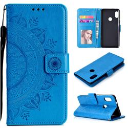 Intricate Embossing Datura Leather Wallet Case for Xiaomi Redmi Note 5 Pro - Blue